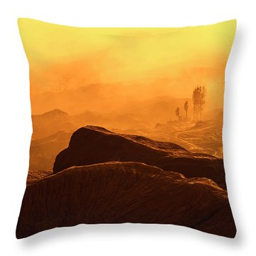 Throw Pillow featuring the photograph mystical view from Mt bromo by Pradeep Raja Prints