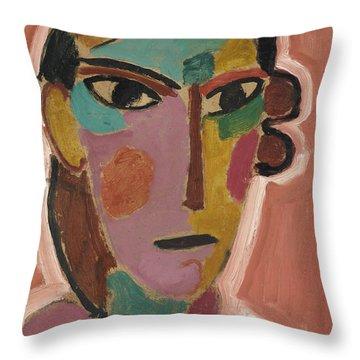 Mystical Women's Head On Red Ground Throw Pillow by Alexej von Jawlensky