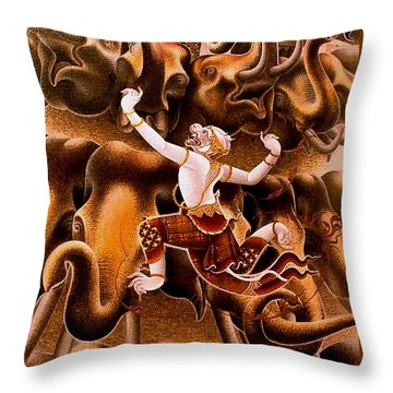 Mythical Warrior Of Siam Throw Pillow