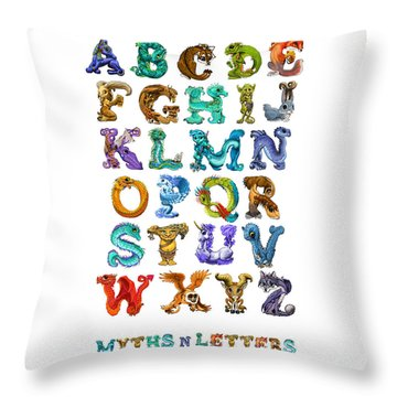 Throw Pillow featuring the digital art Myths N Letters by Stanley Morrison