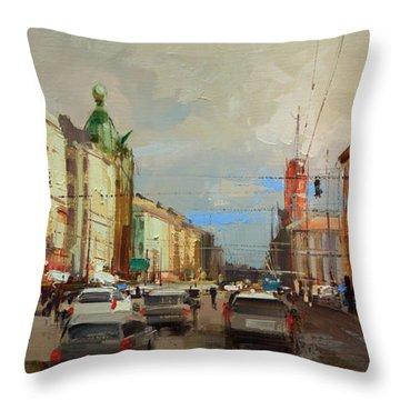 City On Nevsky, Like Surf Discordant Grows Evening Crowd ... St. Petersburg Throw Pillow