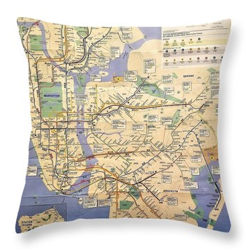N Y C Subway Map Throw Pillow
