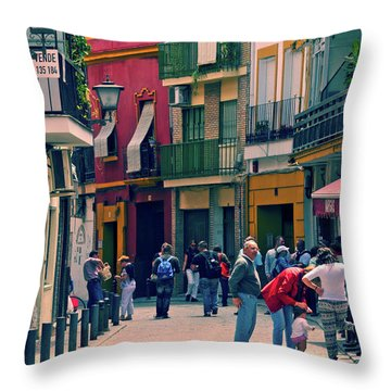 Throw Pillow featuring the photograph Triana On A Sunday Afternoon 1 by Mary Machare