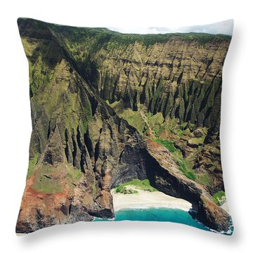 Na Pali Coast Aerial Throw Pillow