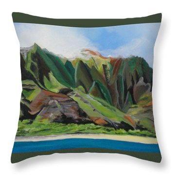 Na Pali Cruise Throw Pillow by Marionette Taboniar