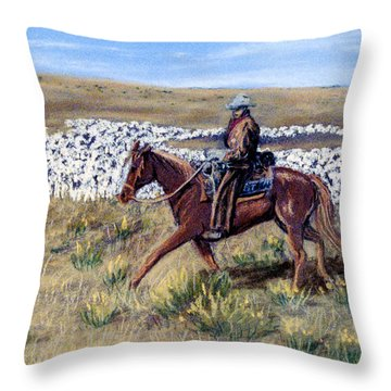 Throw Pillow featuring the pastel Nabey's Sheep by Jan Amiss