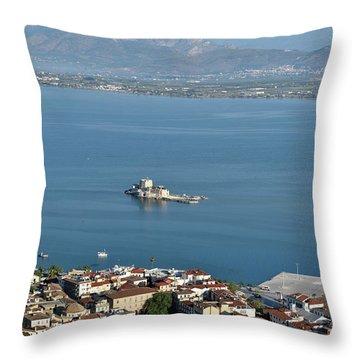 Nafplio Town And Bourtzi Fortress Throw Pillow