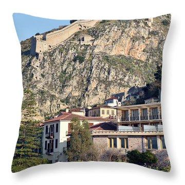Nafplio Town And Palamidi Castle Throw Pillow