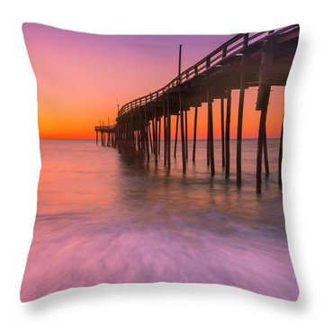 Nags Head Avon Fishing Pier At Sunrise Throw Pillow by Ranjay Mitra