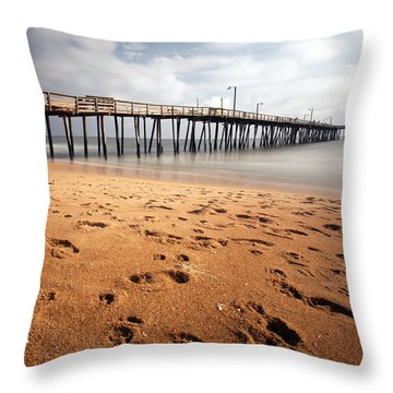 Nags Head Fishing Pier Throw Pillow
