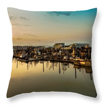 Nahcotta Boat Basin Throw Pillow