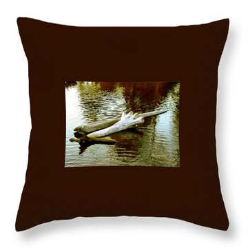 Nailbiting Driftwood Throw Pillow by Sadie Reneau