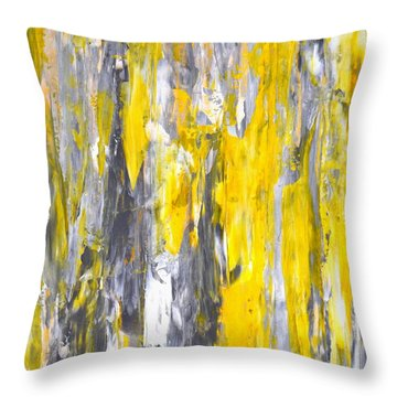 Nailed It - Grey And Yellow Abstract Art Painting Throw Pillow