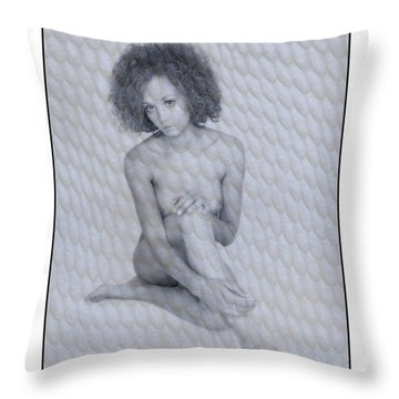 Naked Girl With Curly Hair Throw Pillow by Michael Edwards