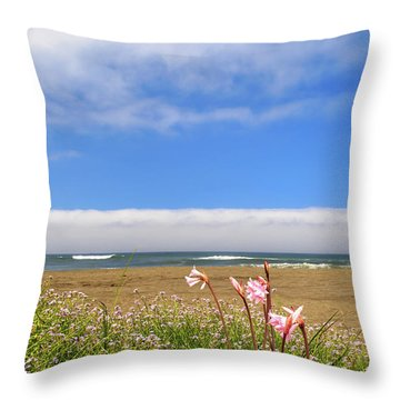 Throw Pillow featuring the photograph Naked Ladies At The Beach by James Eddy