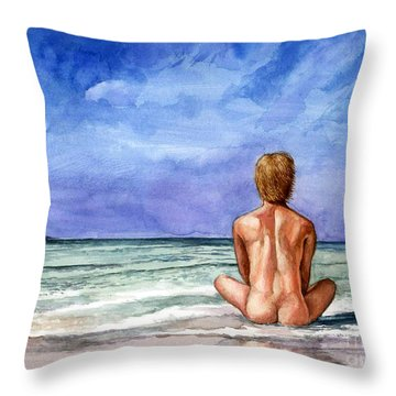 Naked Male Sleepy Ocean Throw Pillow