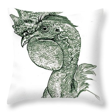 Naked Neck Rooster Throw Pillow
