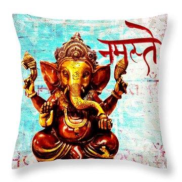 Namaste Bhagavaan Ganesh Throw Pillow