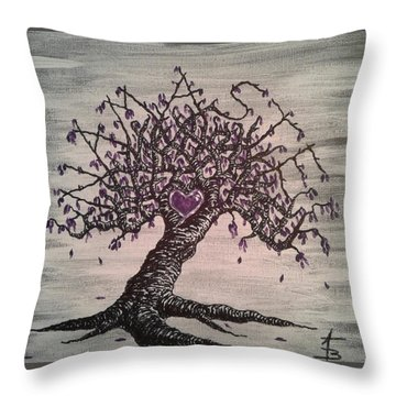 Throw Pillow featuring the drawing Namaste Love Tree by Aaron Bombalicki
