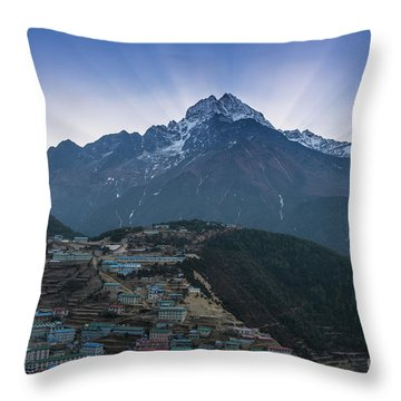 Throw Pillow featuring the photograph Namche And Thamserku Peak Morning Sunrays by Mike Reid