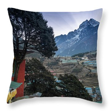 Throw Pillow featuring the photograph Namche Monastery Morning Sunrays by Mike Reid