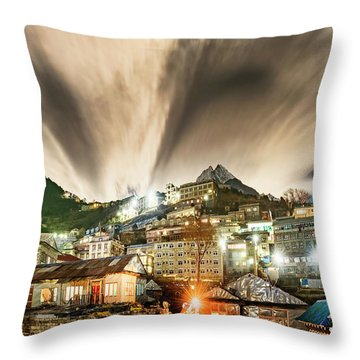 Throw Pillow featuring the photograph Namche Night by Dan McGeorge