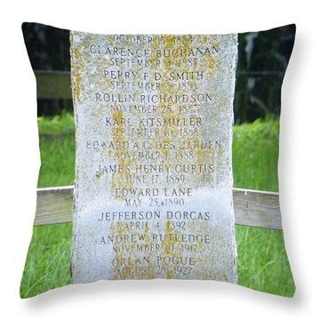 Throw Pillow featuring the photograph Name Marker In Youth Cemetery #2 by The GYPSY