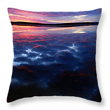 Namekus Lake Sunrise Throw Pillow by Larry Ricker