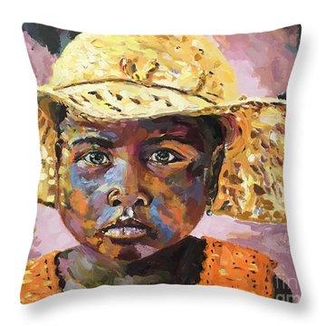 Madagascar Farm Girl Throw Pillow