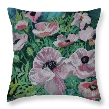 Throw Pillow featuring the painting Nancy's Poppies by Robin Maria Pedrero