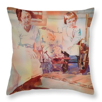 Nannie  Auntie And Her Dollies Throw Pillow by Tara Moorman