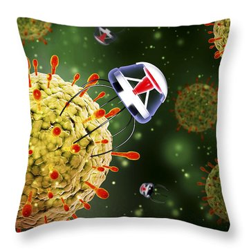 Nanobots Attacking A Virus Throw Pillow