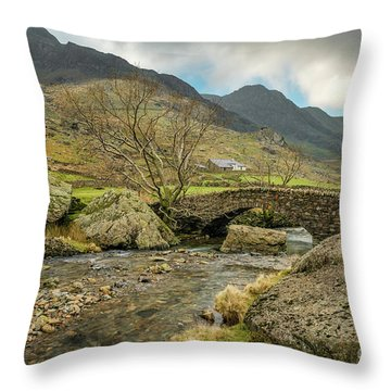 Throw Pillow featuring the photograph Nant Peris Bridge by Adrian Evans