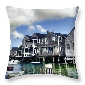 Nantucket Harbor In Summer Throw Pillow by Tammy Wetzel