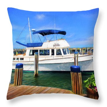Nantucket Harbor Safe Harnor Series 52 Painted Throw Pillow