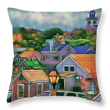 Throw Pillow featuring the painting Nantucket Nestles Around The Port by Jack Torcello