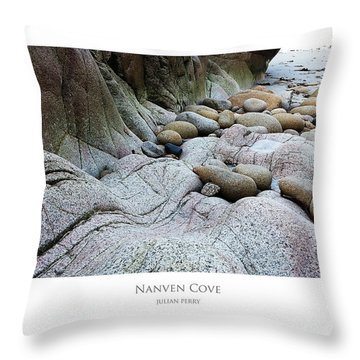 Throw Pillow featuring the digital art Nanven Cove by Julian Perry