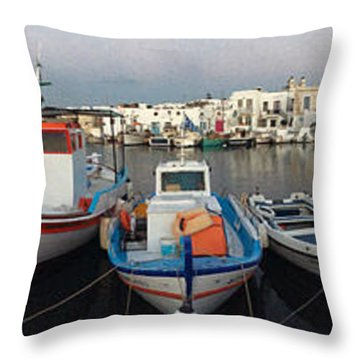 Naoussa Village Island Greece Throw Pillow