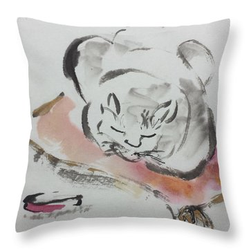 Nap Time Throw Pillow by Laurie Samara-Schlageter