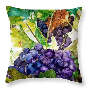 Throw Pillow featuring the painting Napa Harvest by Lance Gebhardt