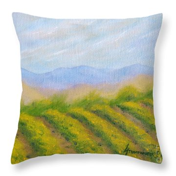 Napa Valley Vineyard Throw Pillow by Jerome Stumphauzer