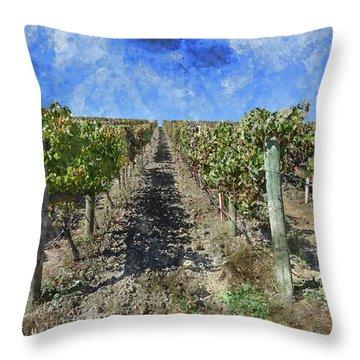 Napa Valley Vineyard - Rows Of Grapes Throw Pillow