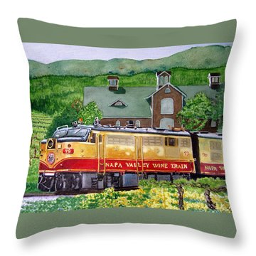 Napa Wine Train Throw Pillow by Gail Chandler