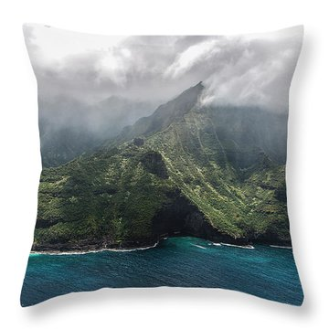 Napali Coast In Clouds And Fog Throw Pillow