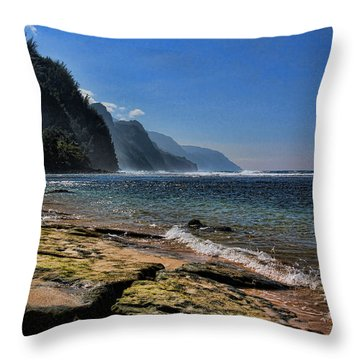 Napali Coast  Throw Pillow by John Bushnell