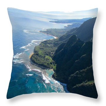 Throw Pillow featuring the photograph Napali Coast Looking North by Brenda Pressnall
