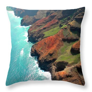 Napali Coast Of Kauai Throw Pillow by Frank Wilson
