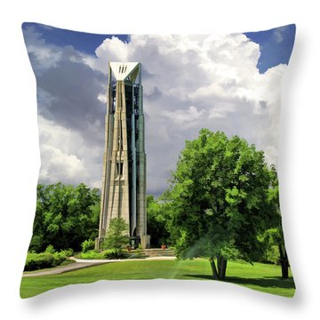 Throw Pillow featuring the painting Naperville Millennium Carillon by Christopher Arndt