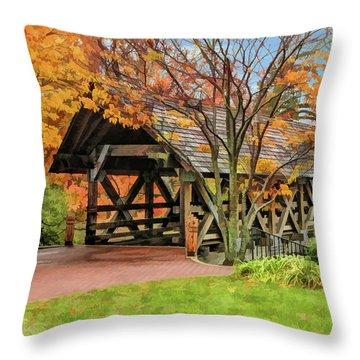 Throw Pillow featuring the painting Naperville Riverwalk Covered Bridge by Christopher Arndt