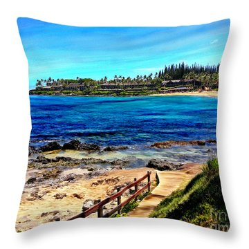 Napili Beach Gazebo Walkway Throw Pillow